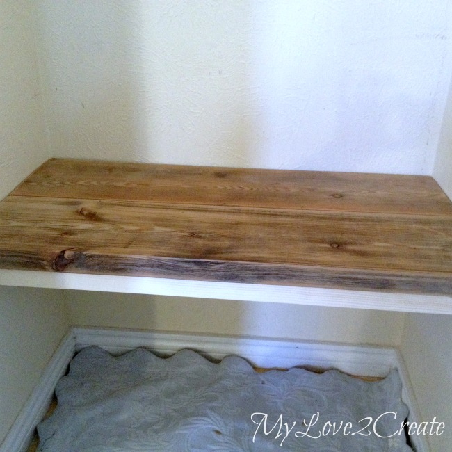 MyLove2Create, Hall Closet Makeover, testing out floating bench seat