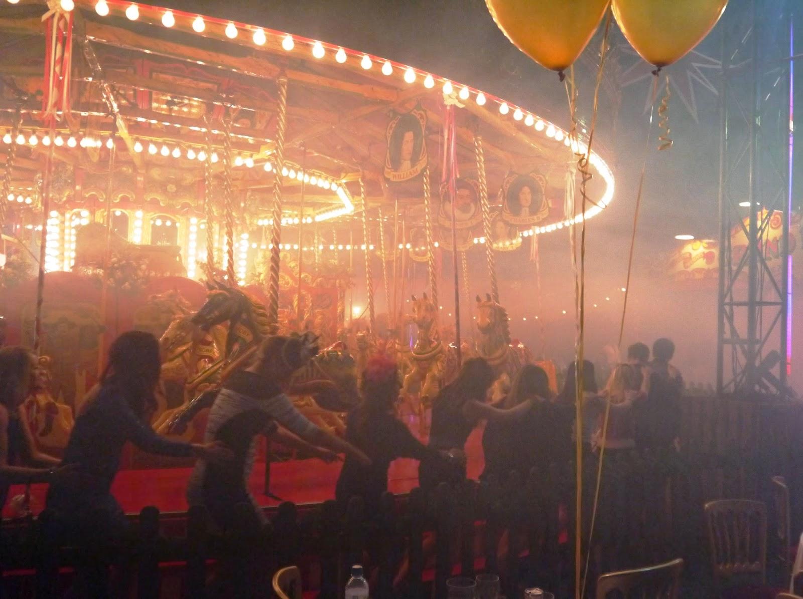 Carters Steam Fair Wedding - conga line around the gallopers