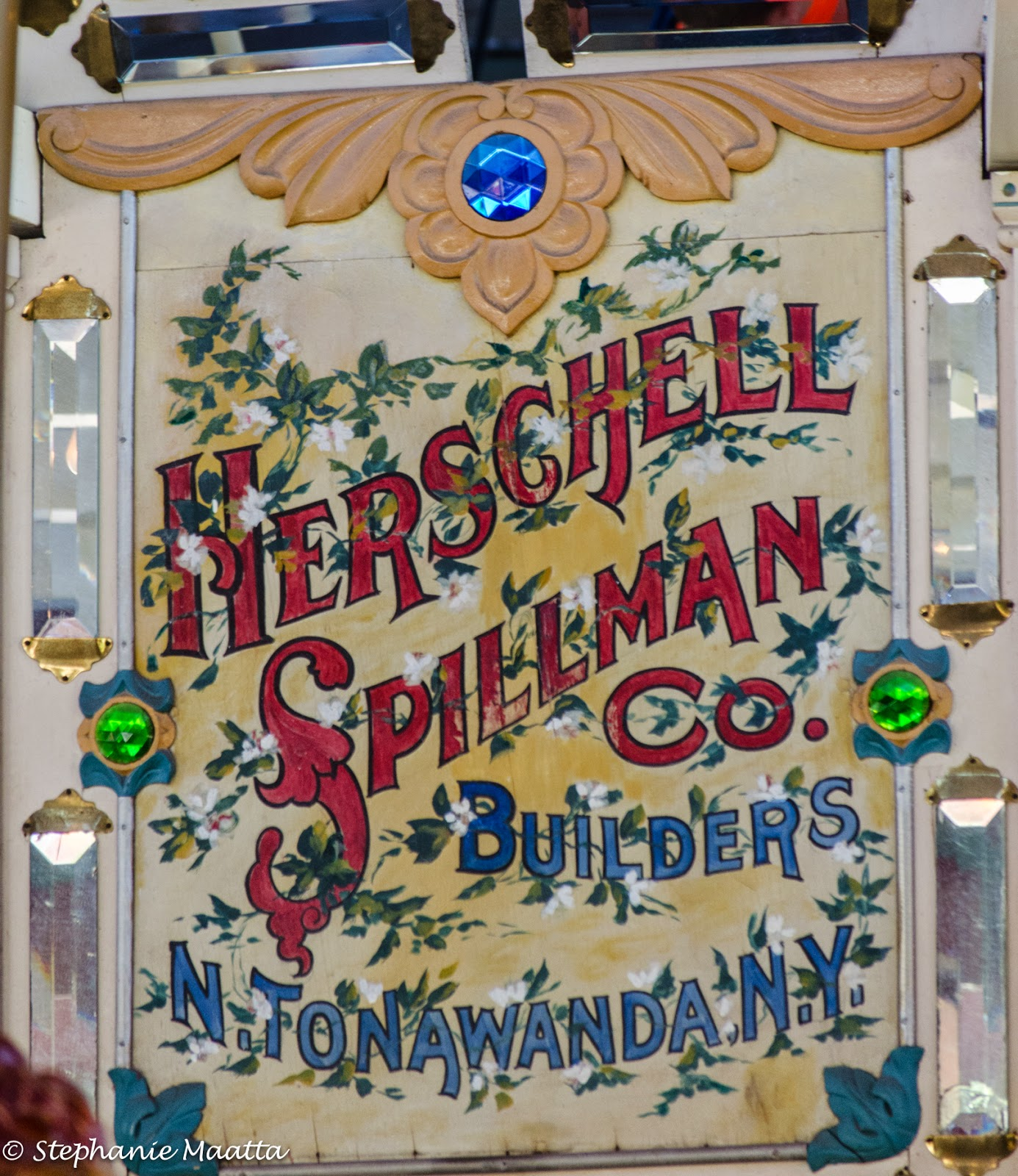 Herschell Spillman sign on carousel