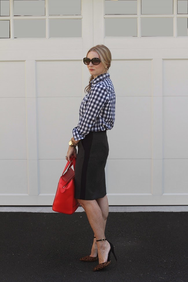 jcrew plaid shirt, jcrew gray wool skirt, baublebar necklace, kate spade beau bag, schutz heels