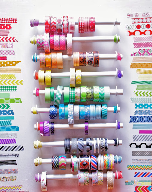 Hold Washi Tape from PVC pipe:: OrganizignMadeFun.com