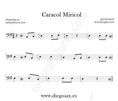 Caracol Miricol partitura para Trombón, Tuba, Violonchelo, Fagot, Bombardino... en Sol mayor en clave de Fa