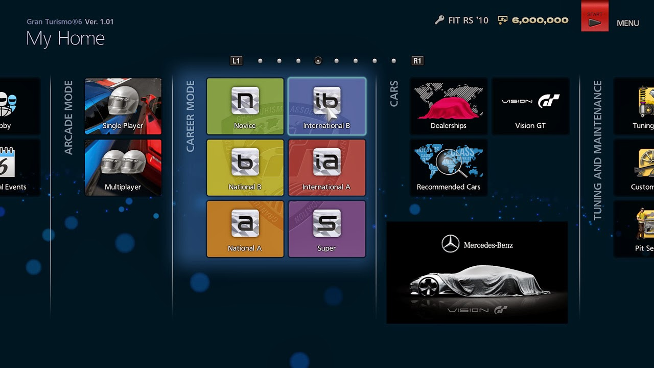 Gran Turismo 6 Menü