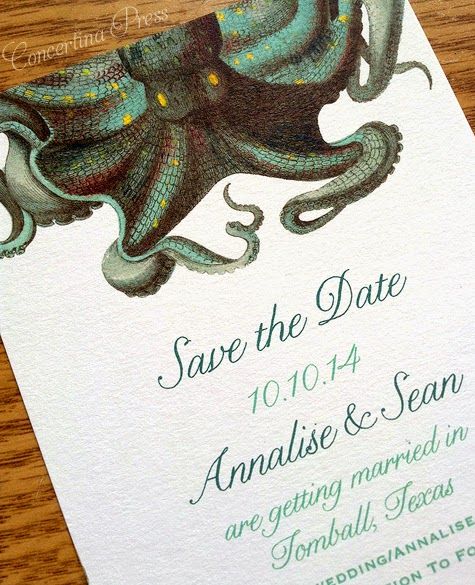 Octopus Save the Dates for a Fall wedding in Texas by Concertina Press