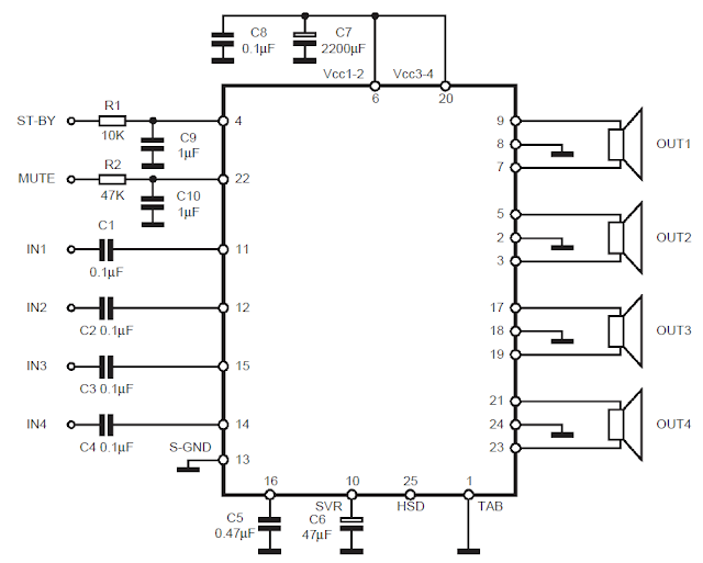 schematic  making a home theater system using ic tda 7560
