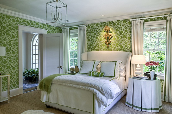 White and green bedroom