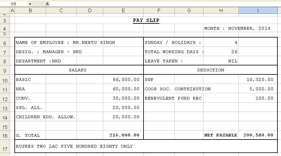 salary slip excel format download