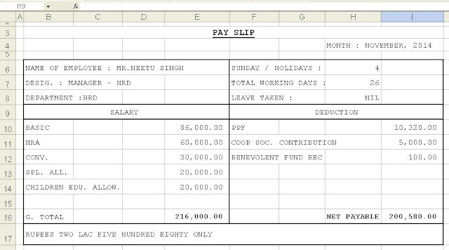 salary slip template word format – Wage Slip Format