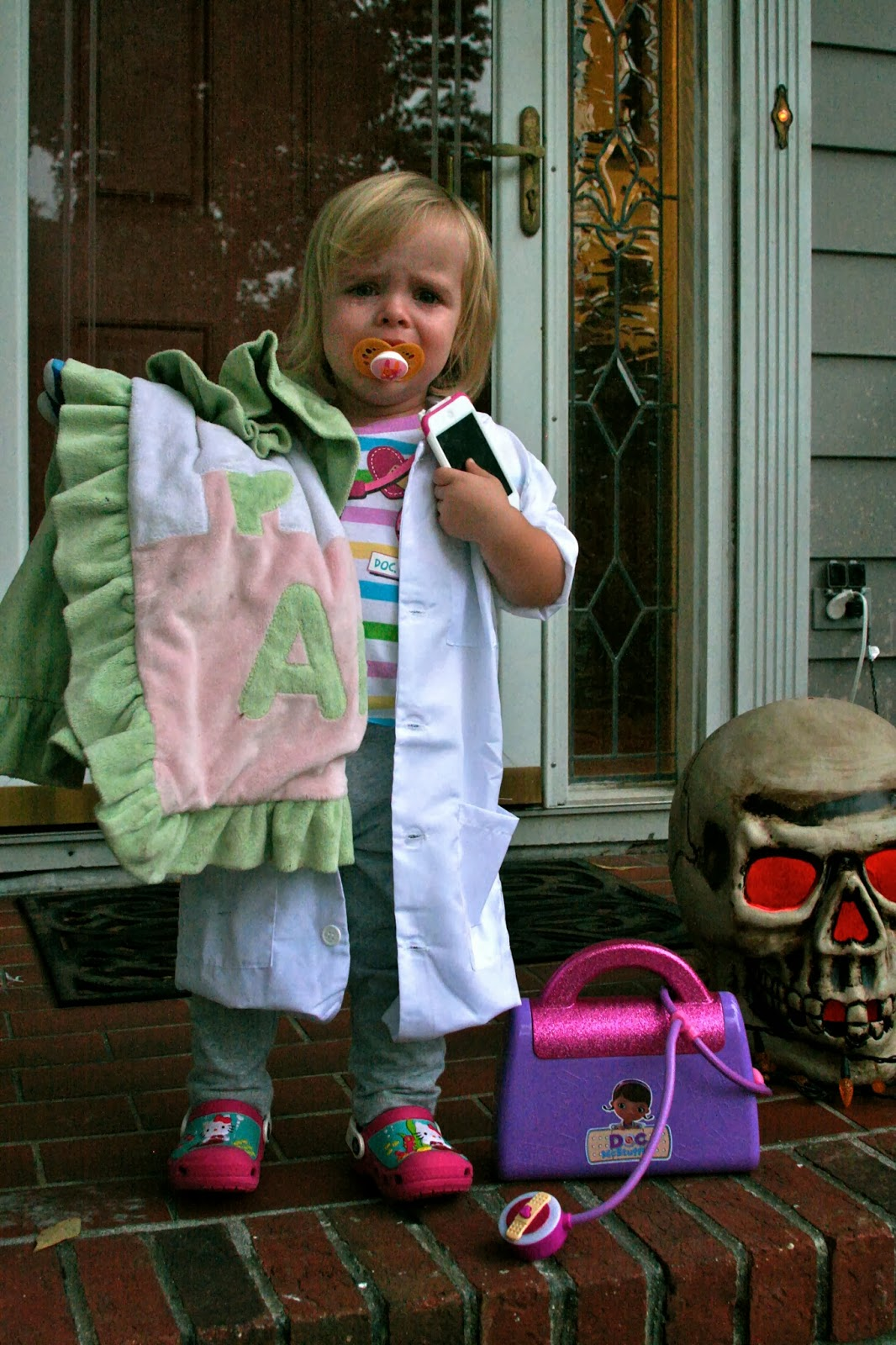she had asked to be doc mcstuffins her favorite character of all time but then she refused to wear the stethoscope hold the doctors bag or wear the wig - Doc Mcstuffins Halloween Bag
