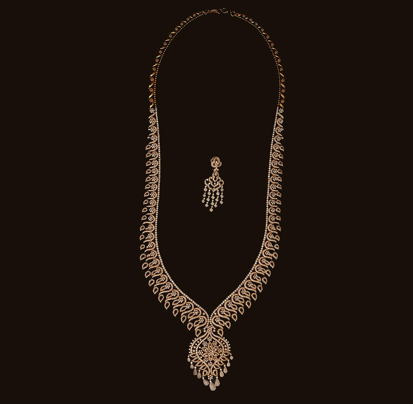 Bridal Diamond Necklace And Haram Set: Gold And Diamond Jewellery Designs: Indian Diamond Bridal