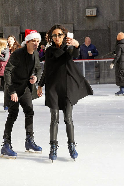 Shay Mitchell and Tyler Blackburn Ice Skating Rockefeller Center New York