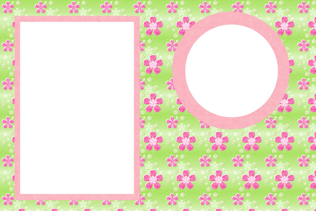 Flores com Fundo Rosa e Verde – Kit Completo com molduras ...