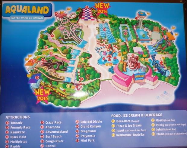 mapa aqualand el arenal