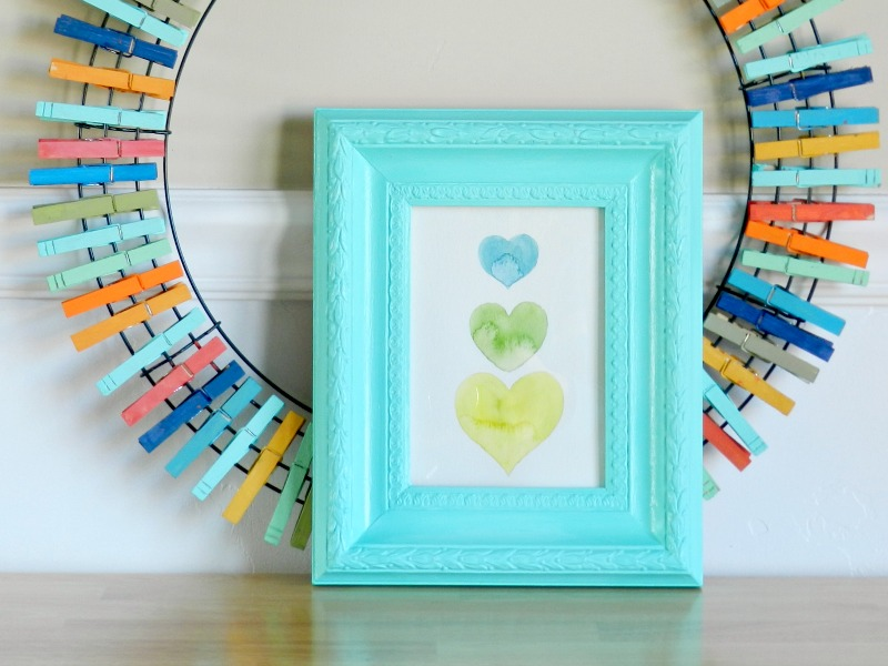 Valentine's Art Decor in an Aqua Picture Frame