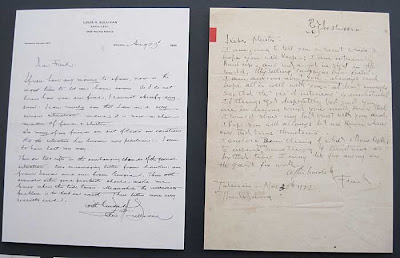 Two handwritten letters side by side