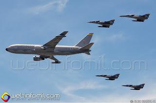 Avión de transporte Boeing KC-767 Júpiter FAC1202 de la Fuerza Aérea Colombiana en formación con aviones Kfir