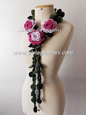 cordão de flores, croche, cordão de flores em croche, revista de croche, flores de croche