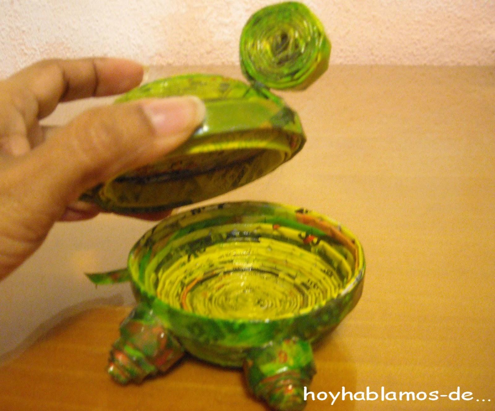 Hoy hablamos de joyero tortuga en papel de peri dico - Manualidades de papel periodico faciles ...
