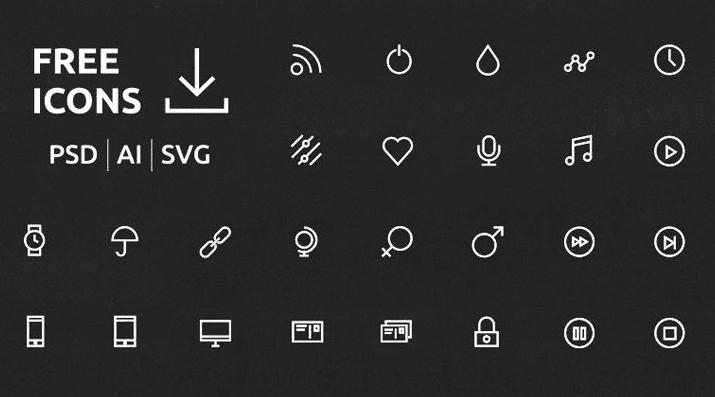 UI / UX Icons Set (PSD, AI, SVG)