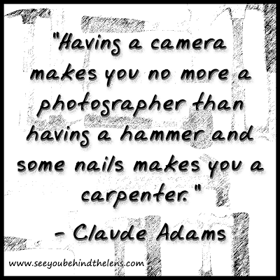 Photography Quote by Claude Adams: Having a camera makes you no more a photographer... on www.seeyoubehindthelens.com via Dakota Visions Photography LLC
