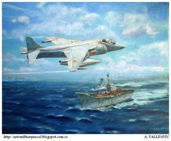 Avión Harrier sobrevolando el portaaviones Príncipe de Asturias - Armada Española