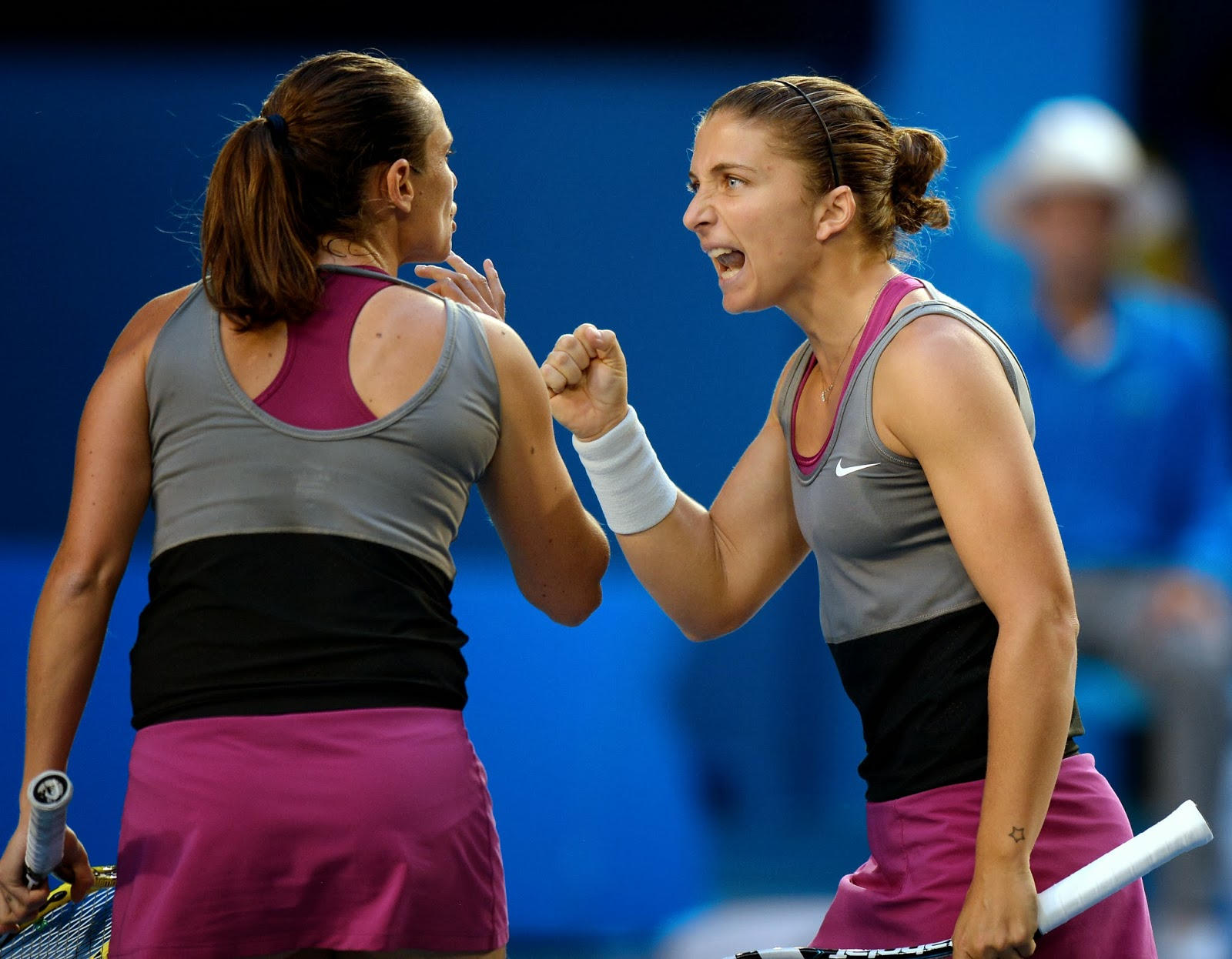 Italy, Roberta Vinci, Sara Errani, Trophy, Celebration, Winner, Women,  Doubles, Final, Russia, Elena Vesnina, Ekaterina Makarova, 2014, Australian Open, Tennis, Melbourne, Sports, Tournament, 2014, Match,