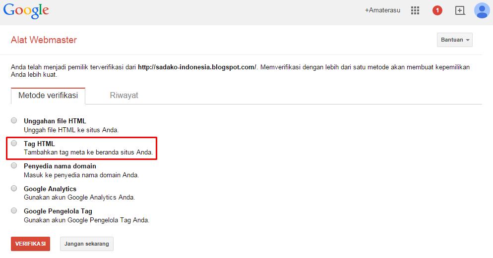 Cara mendaftarkan blog/ website di Google Webmaster 5