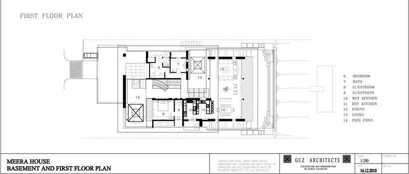 First floor plan of an Amazing home with impressive green roof, Singapore