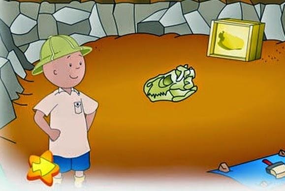 Caillou el arqueólogo, busca los dinosaurios