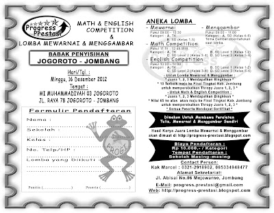 Progress Prestasi | Brosur Math & English Competition & Lomba Mewarnai dan Menggambar  Babak Penyisihan Kec. Jogoroto - Jombang