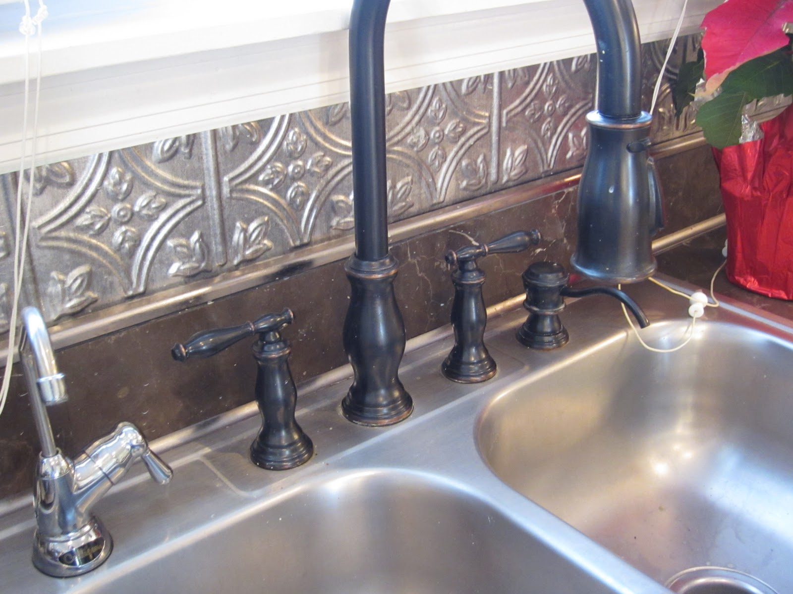Stainless Sink with Bronze Faucet