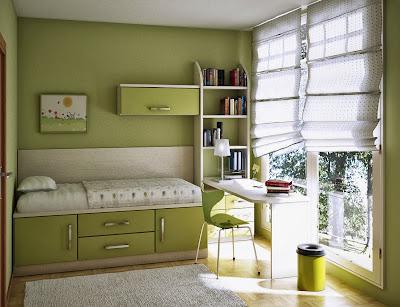 Kamar Tidur Dengan Warna Hijau