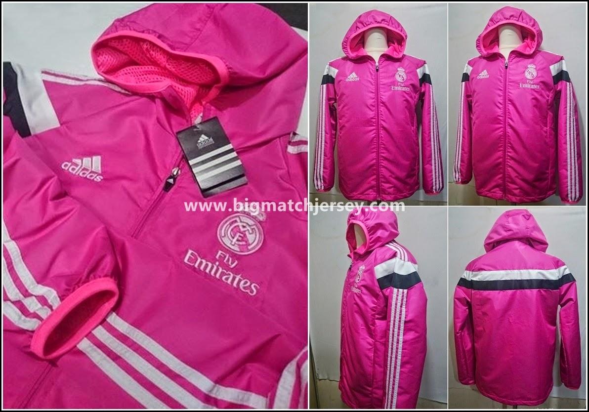 Detail Jaket Waterproof Real Madrid Pink Official 2014 - 2015
