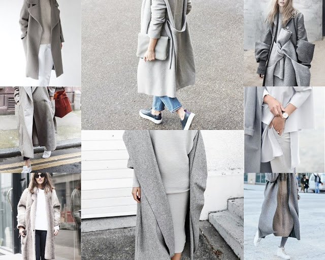grey winter coat lookbook