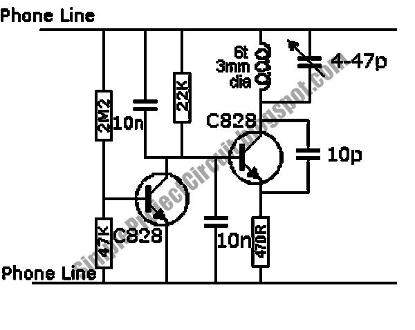 simple project circuit  wireless telephone line spy circuit