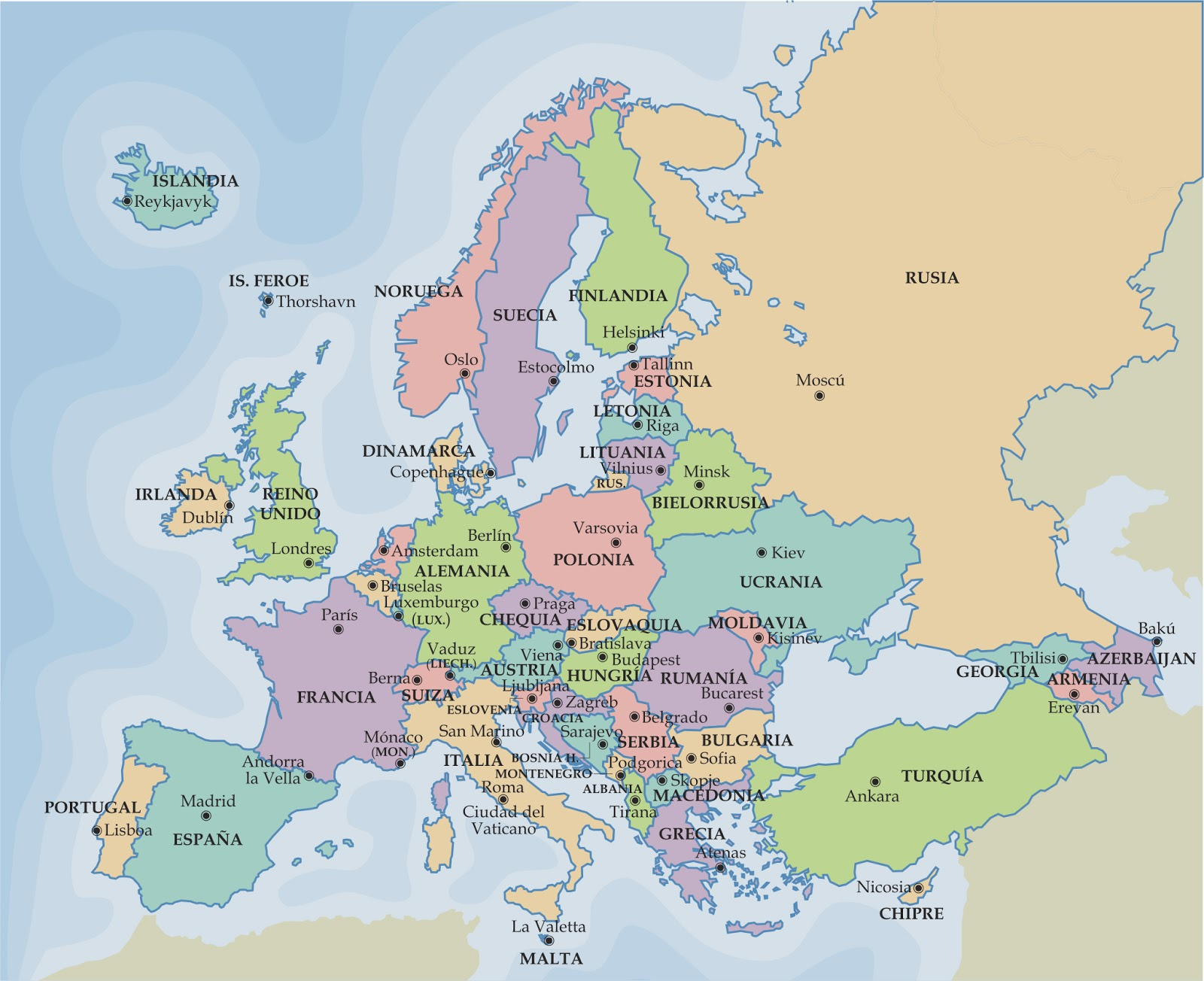 CPI Tino Grand o Bilingual Sections Maps of Europe and Spain – English Map of Europe