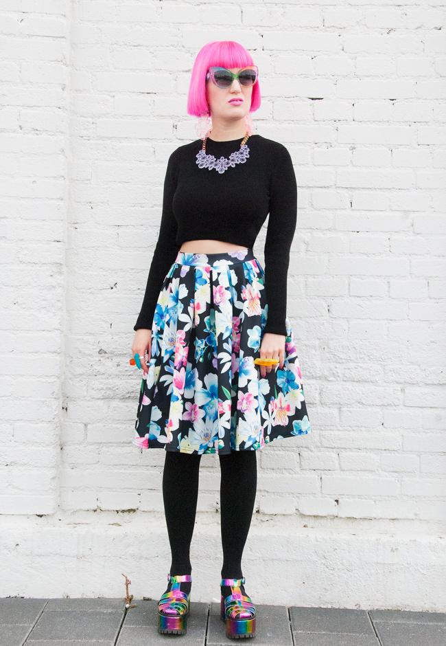 quiz clothing, crop top in winter, flower print skirt