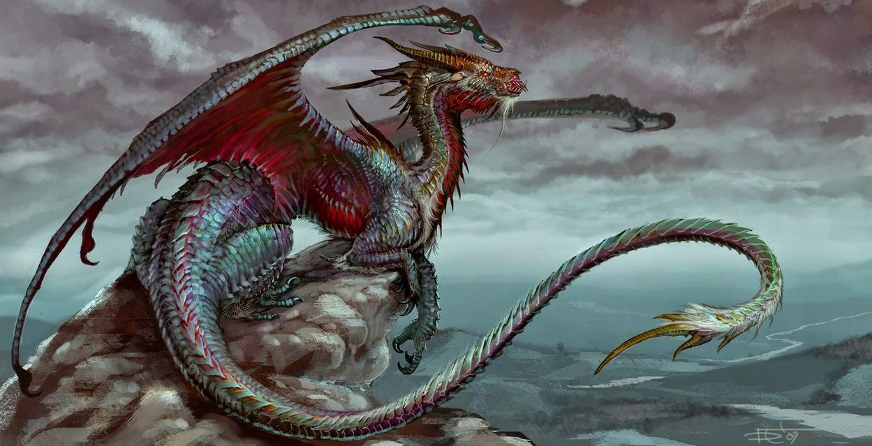 Dragon on rocks