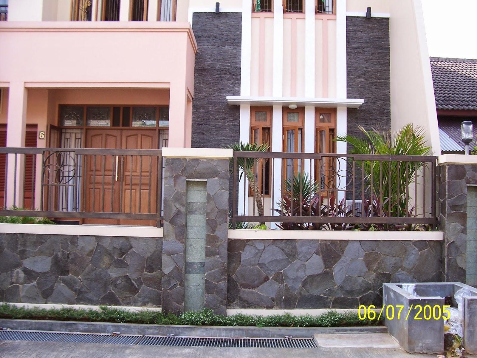 Contoh pagar rumah minimalis dengan batu alam Cari