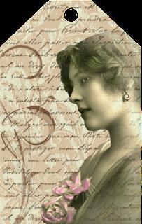 tag vintage imprimible para manualidades de scrapbooking con foto de chica antigua con flores en el pecho