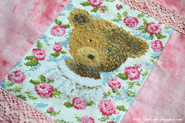 dmc teddy bear, вышивка крестом, мешочек с вышивкой