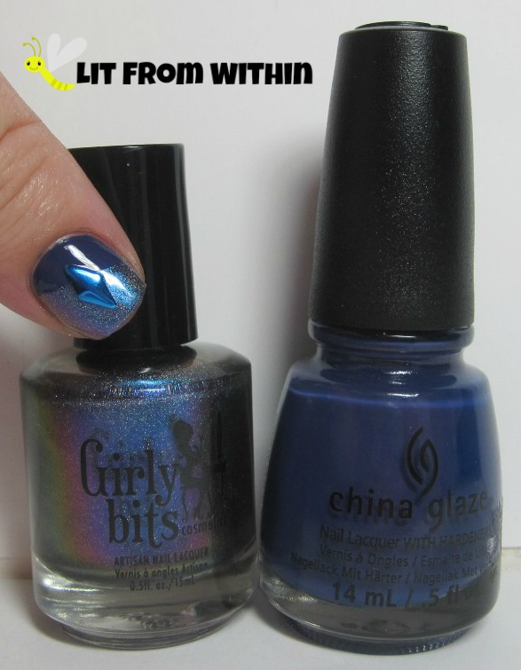 Bottle shot:  Girly Bits Go And Shake A Tower, and China Glaze Queen B.