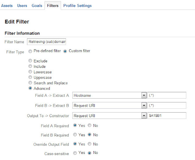 Sub Domain setup example on Google Analytics using filter