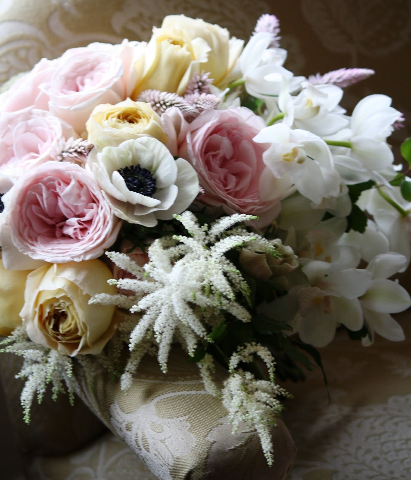 The Plaza Bridal Bouquet  - Garden Roses, Anemones, Astilbe Bride's Bouquet - Garden Rose Bouquet, David Austin Rose Bouquet, Juliet Garden Rose, Patience Garden Rose, Rose Bridal Bouquet, Rose Bouquet, Wedding Bouquet - Splendid Stems Wedding Flowers - Wedding Florist