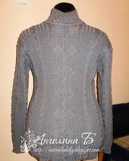 вязание спицами, авторские работы, мои работы, пуловер, мужской свитер,