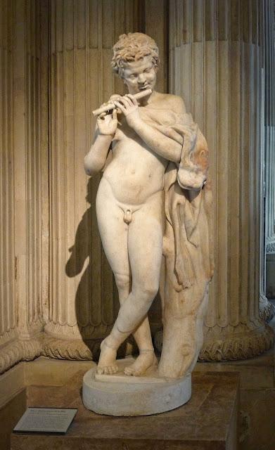 Sculpture+Faune+Fl%C3%BBtiste+antique+Lo