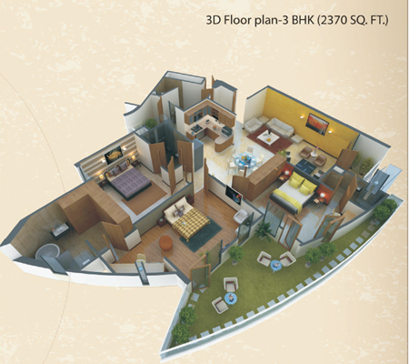 3 Bedroom Apartment Floor Plans India
