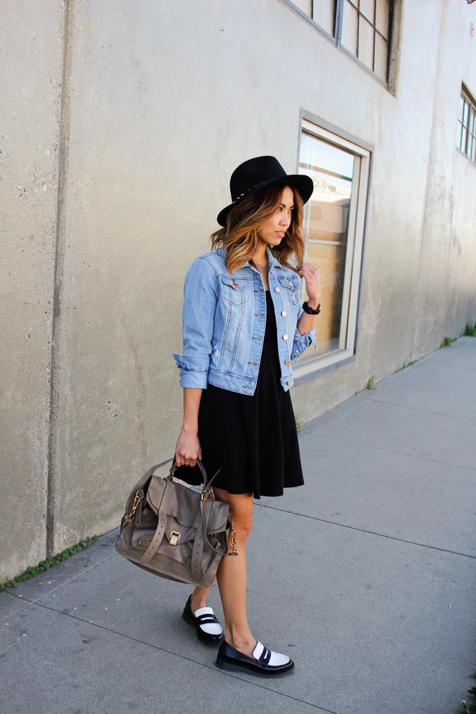 Proenza Schouler PS1 Medium Smoke, YMI Denim jacket, Zara black and white loafers, beautybitten