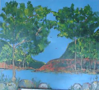 Clameli - Bosque com Lago - Acrílico s/ tela