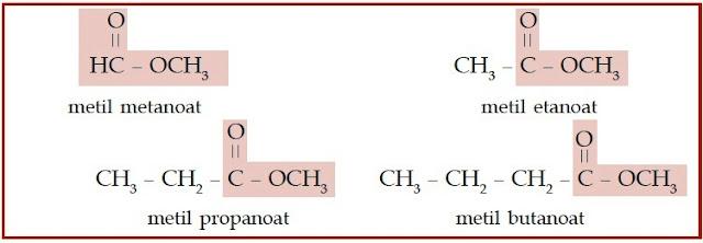 Pada senyawa ester, gugus alkil menggantikan atom hidrogen pada asam karboksilat